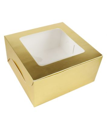 CAKE BOX FOR 0.5 KG - GOLDEN - 8X8X4 INCH - PACK OF 10
