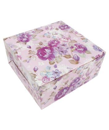 CAKE BOX FOR 1 KG - PURPLE FLORAL - 10X10X5 INCH- PACK OF 10
