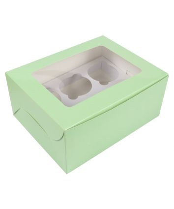 CUPCAKE BOX FOR 6 - MINT  - PACK OF 10
