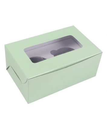 CUPCAKE  BOX FOR 2 - MINT - 7X4X3 INCH - PACK OF 10