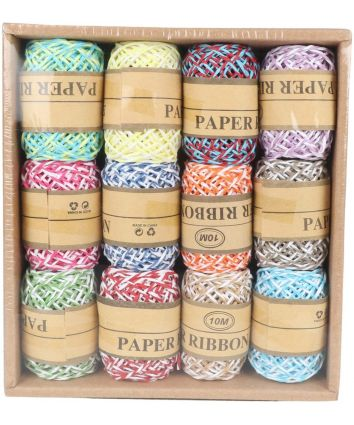 Ribbon Paper Rope for Gift Box for Birthday Party Tags Wrap Decoration Party Supplies 10 M (Multicolor)- pack of 12