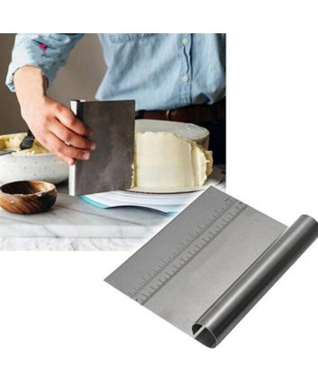Stainless Steel Cake Smoother with Scale Cutting Knife(Silver)