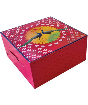 CAKE BOX FOR 1 kg - PEACOCK - 10x10x5 INCH - PACK OF 10