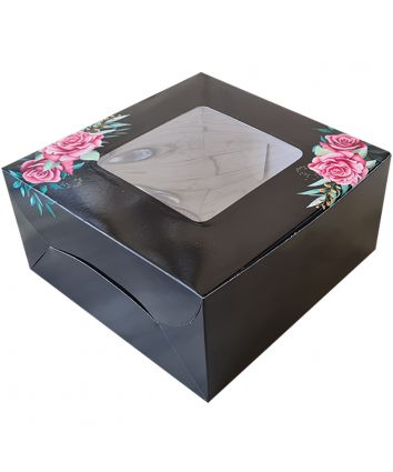 CAKE BOX FOR 0.5 KG  - BLACK - 8x8x4 INCH - PACK OF 10