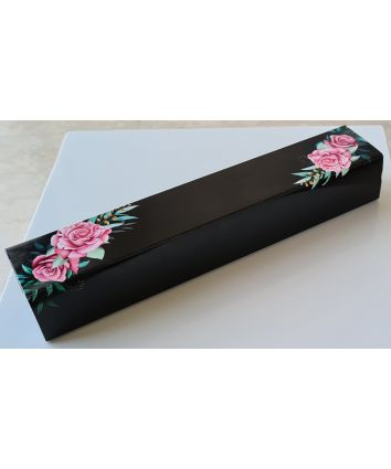 BLACK FLORAL CHOCOLATE BOX - for 5 chocolates - PACK OF 10