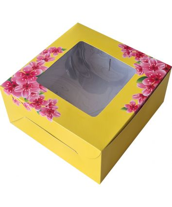 CAKE BOX FOR 0.5 KG - YELLOW FLORAL - 8x8x4 INCH - PACK OF 10