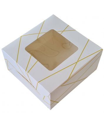 CAKE BOX FOR 1 KG -WHITE GOLD -10x10x5 INCH - PACK OF 10