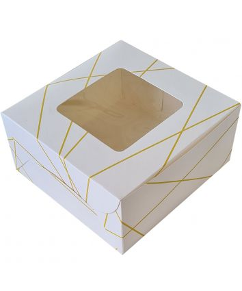 CAKE BOX FOR 0.5 KG -WHITE GOLD - 8X8X4 INCH - PACK OF 10