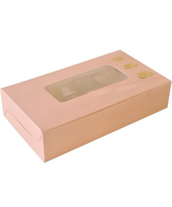 BROWNIE BOX / SWEETS BOX  - PEACH - PACK OF 10