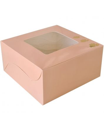 CAKE BOX FOR 0.5 KG  - PEACH - 8x8x4 INCH - PACK OF 10