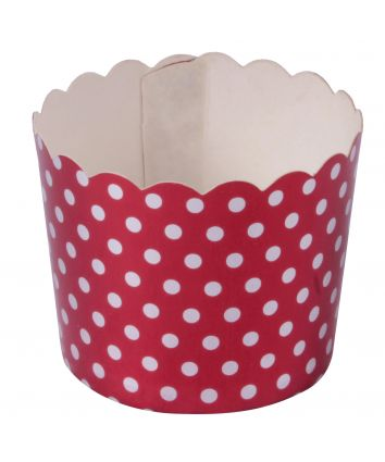 Bake and Serve Cups for Cupcakes- Red Polka Dots - pack of 10