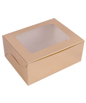 CUPCAKE BOX FOR 6 - GOLDEN - PACK OF 10