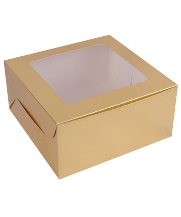 CUPCAKE BOX FOR 4 - GOLDEN - PACK OF 10
