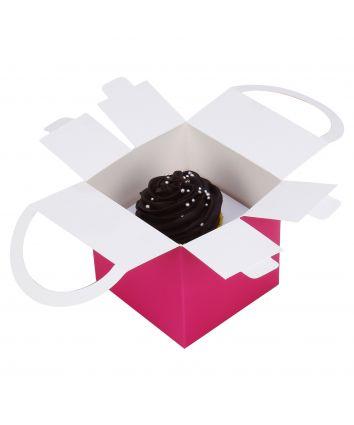 CUPCAKE BOX-PINK-HANDLE - pack of 10