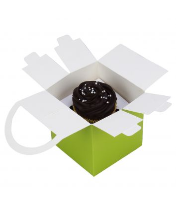 CUPCAKE BOX FOR 1 -GREEN- HANDLE - pack of 10