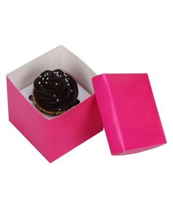 CUPCAKE BOX FOR 1 -PINK -COVER - pack of 10