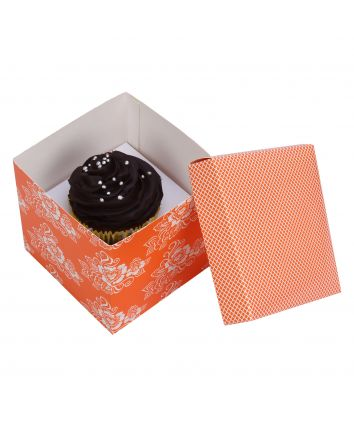 CUPCAKE BOX FOR 1 -ORANGE -COVER - pack of 10