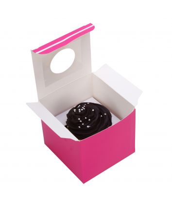 CUPCAKE BOX FOR 1 -PINK- WINDOW - pack of 10